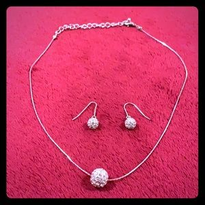 Sphere ball necklace and earrings